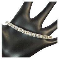 Sterling Crystal Bracelet, Otis, Art Deco Rhinestone Link