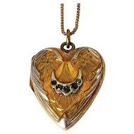 Sterling Heart Locket Necklace, Valentine, Gold Wash, Box Chain