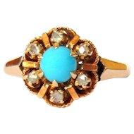 Victorian Diamond Ring, Turquoise, 10K