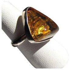 Sterling Amber Ring, Vintage Silver