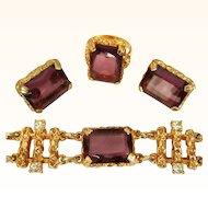 Sarah Coventry Twilight Parure, Rhinestone Bracelet, Earrings, Ring