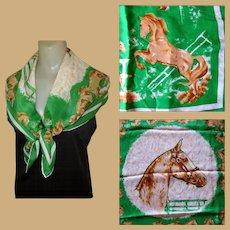 Vintage Silk Scarf, Horse Print