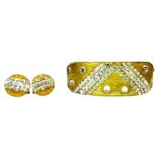 Bakelite Apple Juice Bracelet & Earrings Carved Rhinestone Deco Clamper