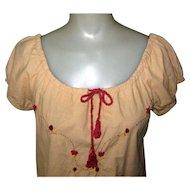 Vintage Peasant Blouse, Embroidered Designer