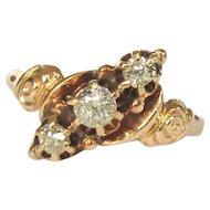 Victorian Diamond Ring, 3 Stone, 9K Gold
