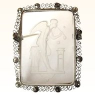 Intaglio Brooch, Marcasite, Vintage Reverse Carved Pin