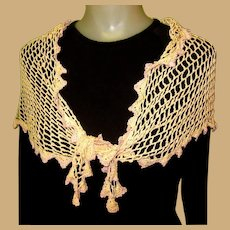 Vintage Lace Scarf / Shawl, Hand Made Silk Crotchet