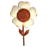 Vintage Flower Pin, Original by Robert, 1960's Enamel Daisy
