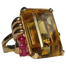 14K Cocktail Ring, Citrine, Ruby, Rose Gold 1940's Vintage