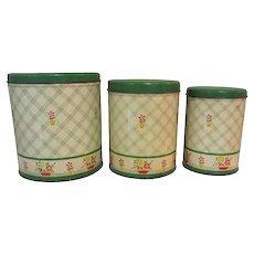 Tin Canister Set, Vintage Deco Jadite Green Floral