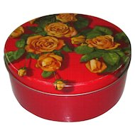 Vintage Floral Tin, Yellow Roses