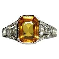 10K Filigree Ring, White Gold, Ostby Barton, Edwardian