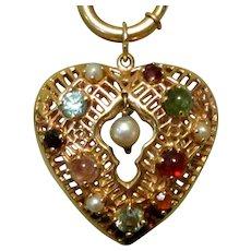 14K Heart Charm, Filigree & Gem Stones, Vintage 50's Valentine
