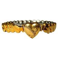 Sweetheart Bracelet, Gold Filled, Art Deco Engraved Heart Valentine