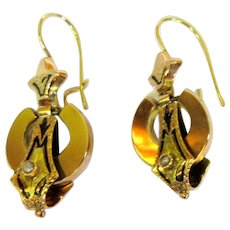 14K Antique Earrings, Victorian Tri Color Gold & Black Tracery