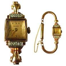14K Longine Watch, Diamonds & Pink Gold, 1940's, Runs