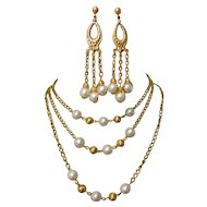 Vintage Station Necklace & Earrings, 1960's Faux Pearls