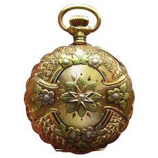 14K Pocket Watch, Antique Diamond Waltham, Tri Gold, Womens