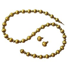 14K Gold Bead Necklace & Earrings, Vintage 1940's