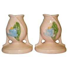 Hull Candlesticks, Blue Magnolia, 1947/48, Pottery