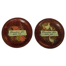 Canadian Ace Beer Coasters, 2 Metal