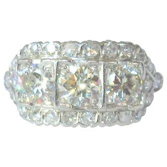 Art Deco Platinum and Diamond Ring, 2.37 cts, GIA