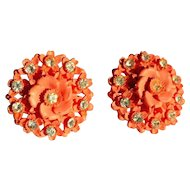 Rhinestone Celluloid Earrings, Coral Roses 20's