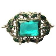 Art Nouveau Pin, Czech Glass Filigree & Enamel