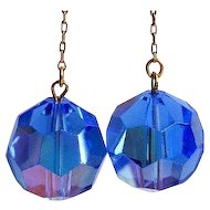 Vintage 60's Crystal Ball Earrings, Drop Disco