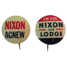 Nixon Campaign Buttons, Agnew & Lodge