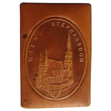 Vintage Vienna Match Holder, Leather, Tourist