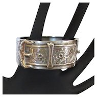 Sterling Silver Buckle Bangle Bracelet, Engraved Hallmarked