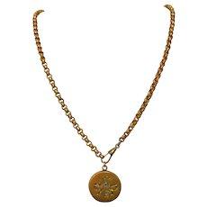 Guard Chain / Necklace, Antique Gold Filled, Belcher, Dog Clip