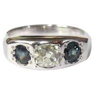 Antique Diamond Ring, Cushion Cut, Sapphires, Gypsy Set, 14K