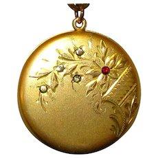 Antique Locket Necklace, Paste Stones, Etched Floral GF
