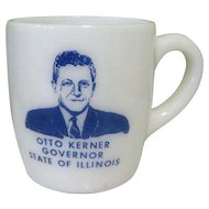 Otto Kerner Fire King Mug, 1960's Political Memorabilia