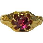 Victorian 14K Gold Ring, Belcher Set Rhodolite Garnet