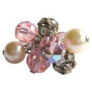 Vintage Crystal Ring, Glass Pearls,Rhinestone Cha Cha