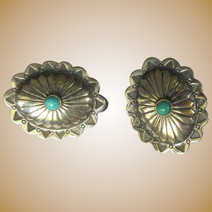 Sterling Silver Concho Earrings Vintage Native American
