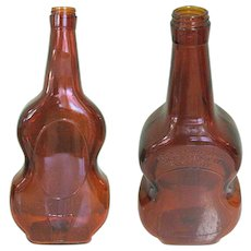 Large Violin Bottle, Vintage Owens Glass, Illinois