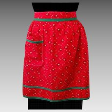 Vintage Half Apron, Red & Green, 40's Cotton Tulips