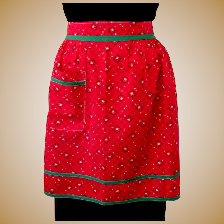 109d22f9cde Vintage Half Apron, Red & Green, 40's Cotton Tulips