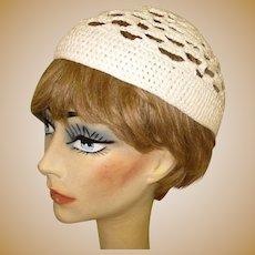 Vintage Lace Hat, Crocheted Cap, 60's