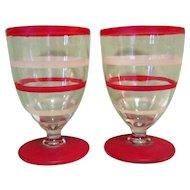 Art Deco Cordial Glasses, Appertif Pair, Red Striped