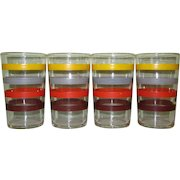 Art Deco Striped Juice Glasses, Set of 4