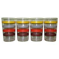 Art Deco Striped Juice Glasses, Set of 4