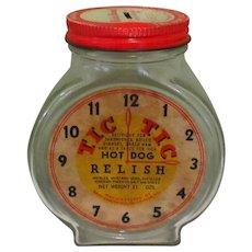 Vintage TIC TIC Relish Jar Glass KIddy Bank - Red Tag Sale Item