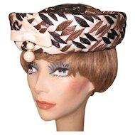 Vintage Hat, Cellophane Straw, Cream, Black & Brown, 50's