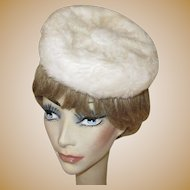 Pill Box Hat, Vintage Faux Fur