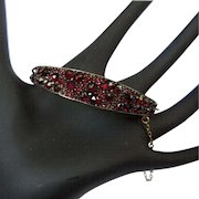 Bohemian Garnet Bracelet, Sterling, Rose Cuts, Antique